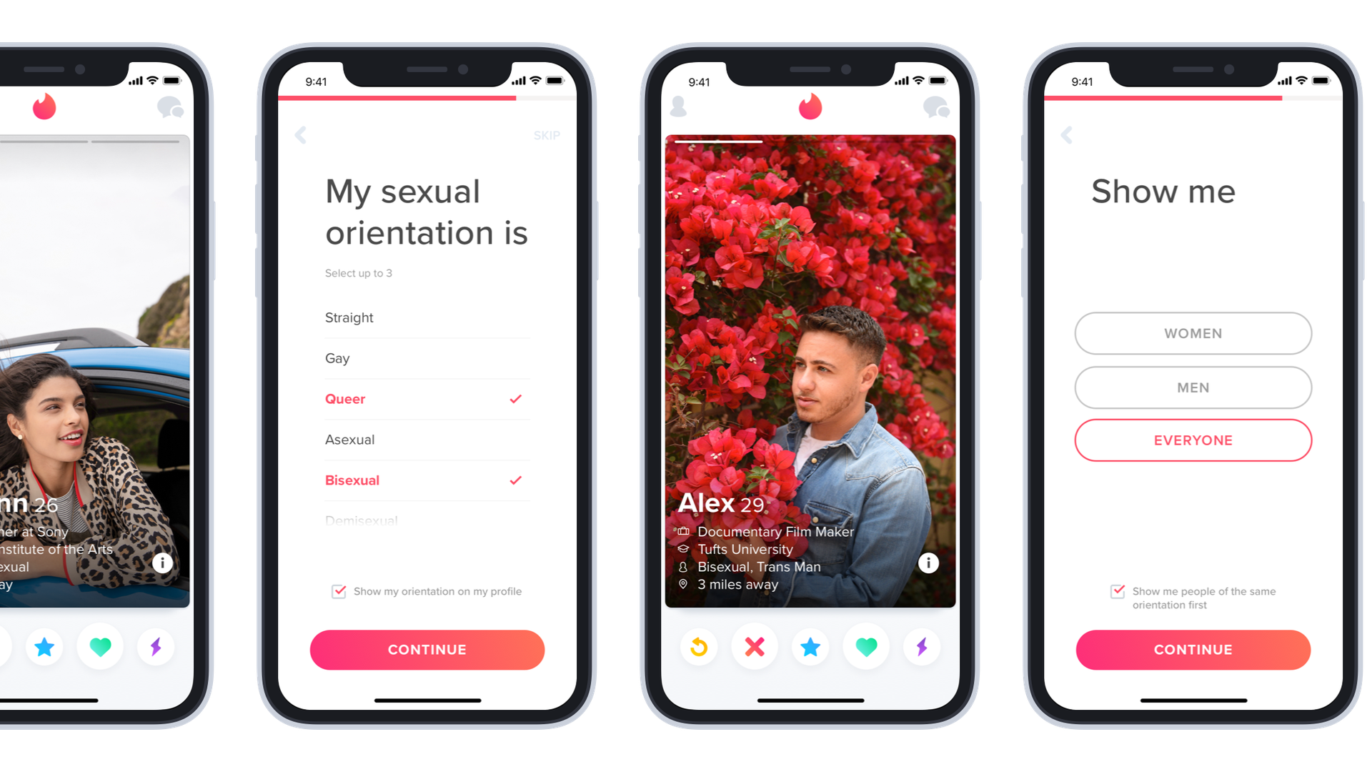 The new sexual orientation options offered in the Tinder app