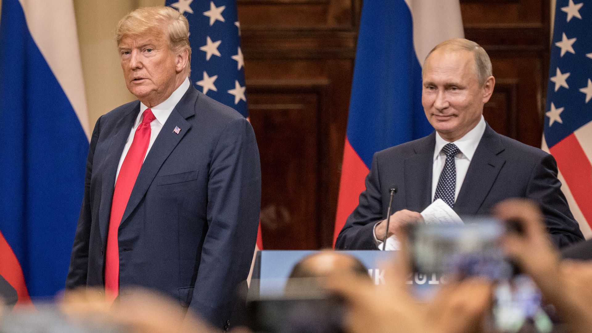 President Trump and Russian President Vladimir Putin during a joint press conference after their summit on July 16, 2018, in Helsinki, Finland.