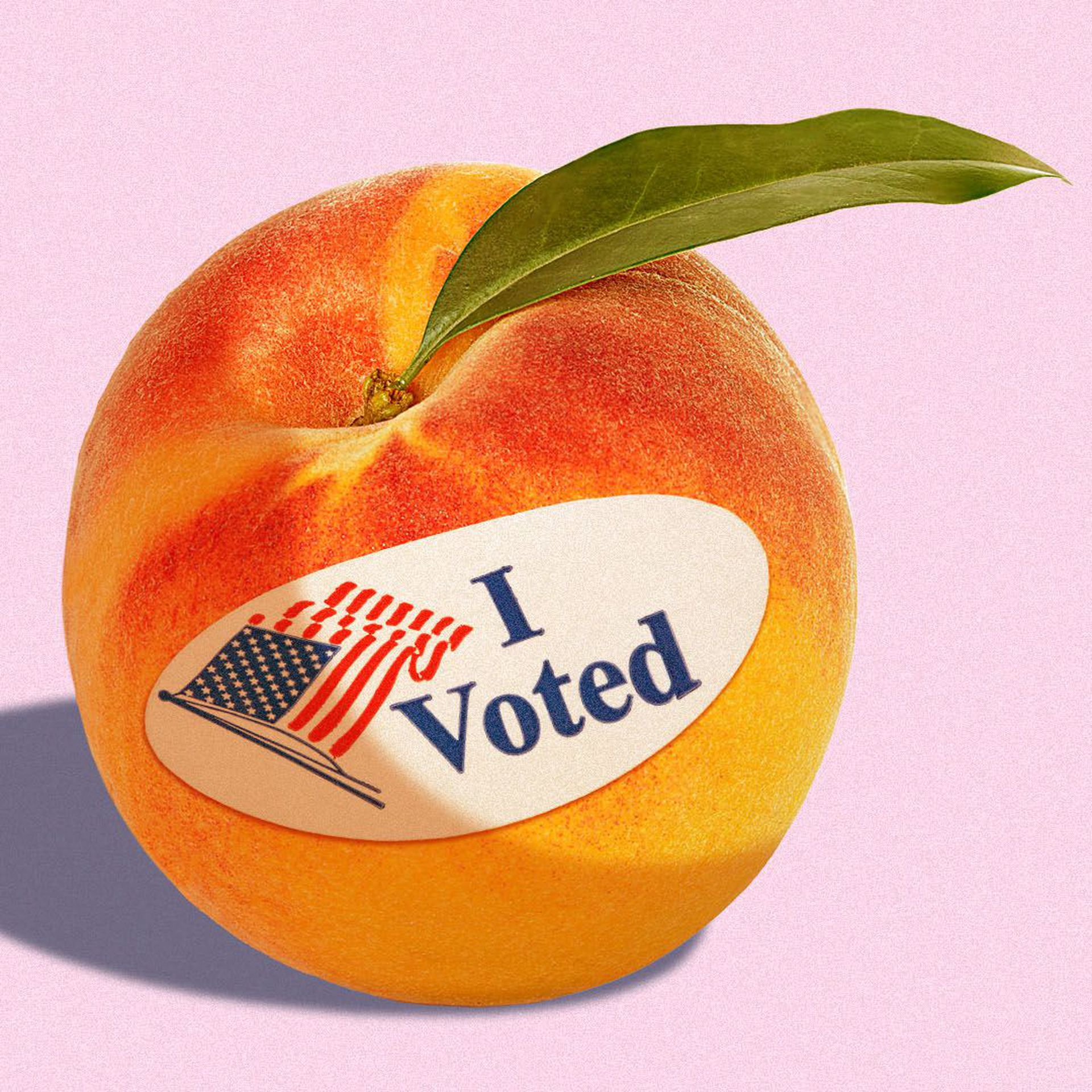 """Illustration of a peach with an """"I voted"""" sticker on it"""