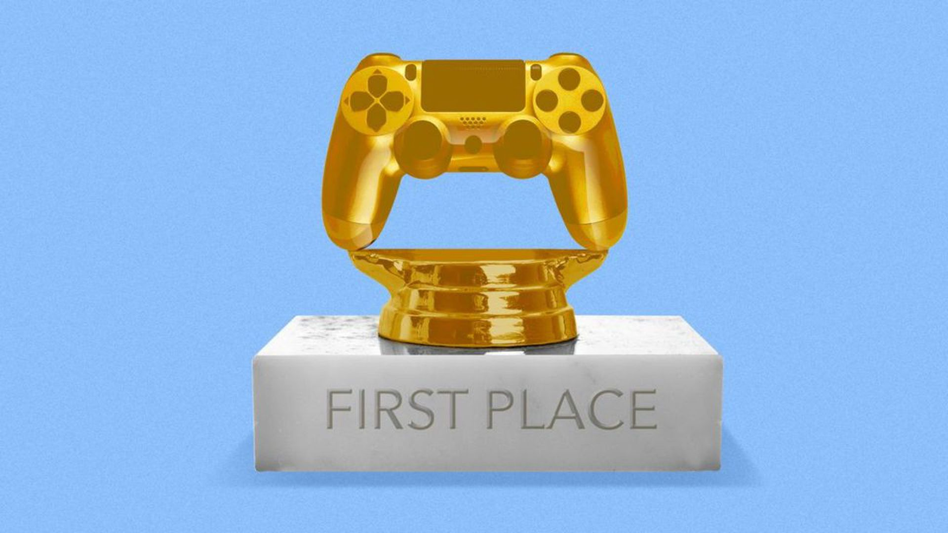 illustration of a golden playstation controller trophy