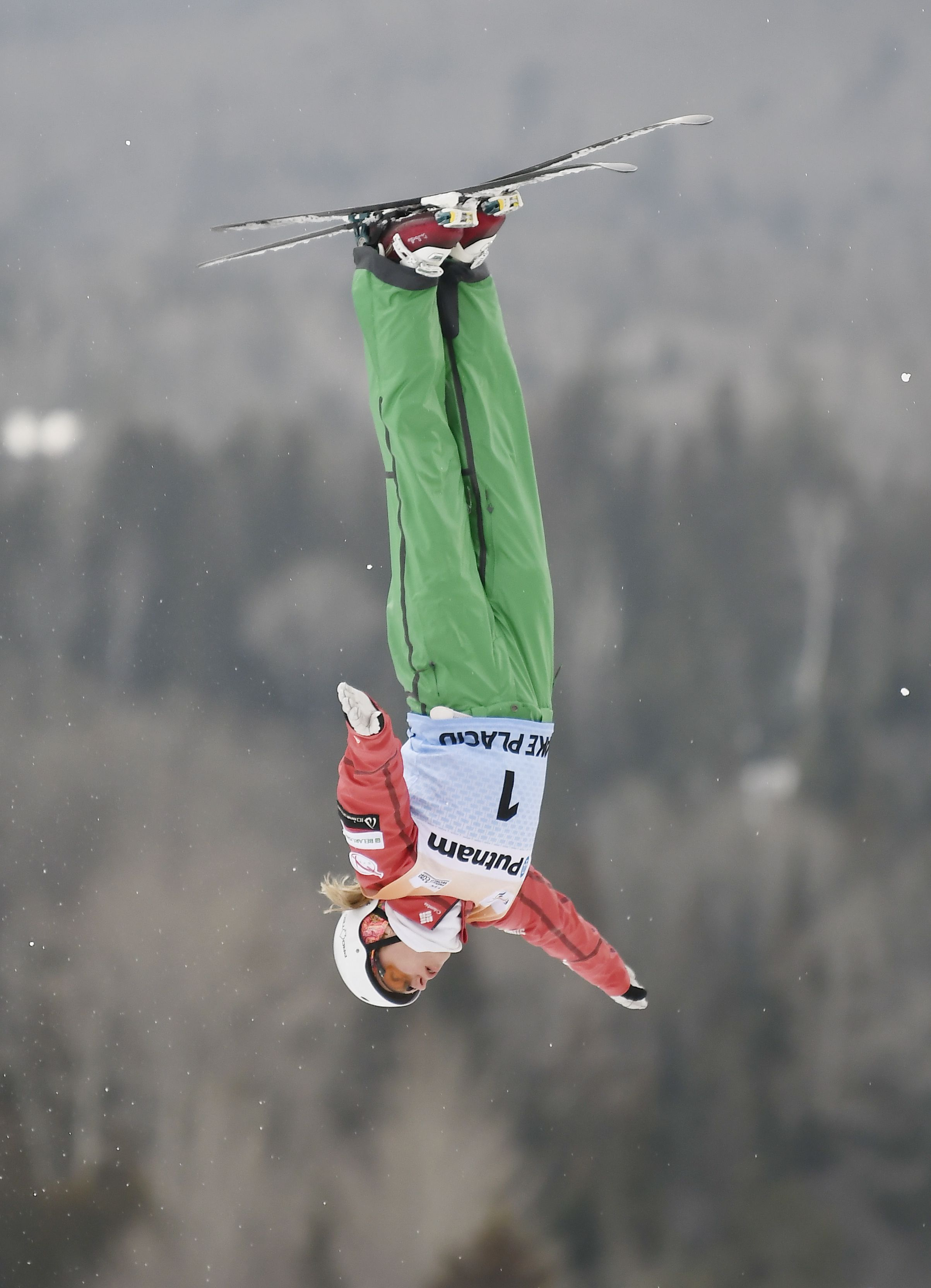 Hanna Huskova, of Belarus, competes in the women's World Cup freestyle skiing aerials in Lake Placid, N.Y., Saturday, Jan. 20, 2018. (AP Photo/Hans Pennink)