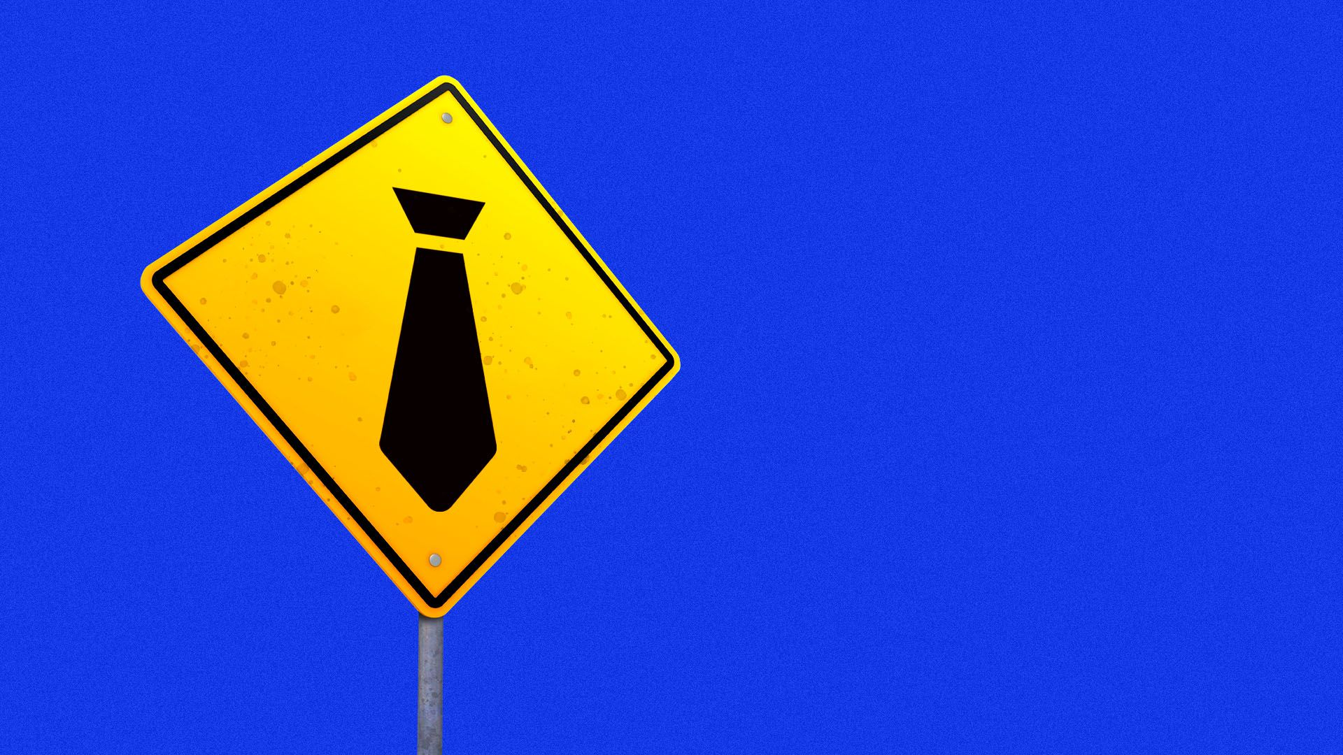 Illustration of a road caution sign with a tie icon on it