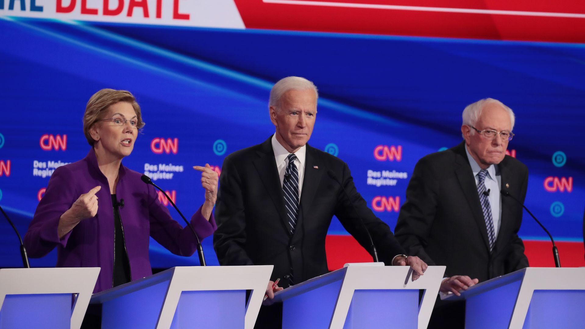 Elizabeth Warren, Joe Biden and BErnie Sanders. Photo: Scott Olson/Getty Images