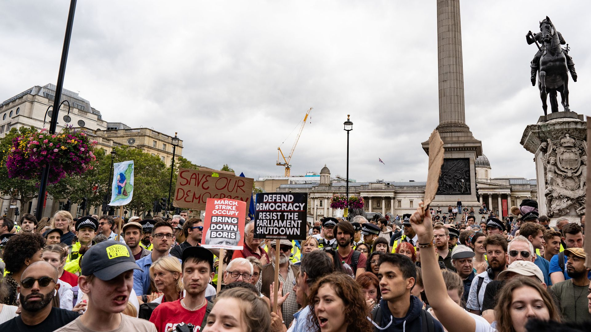 Thousands of people gathered across the country to protest against Boris Johnson proroguing Parliament.