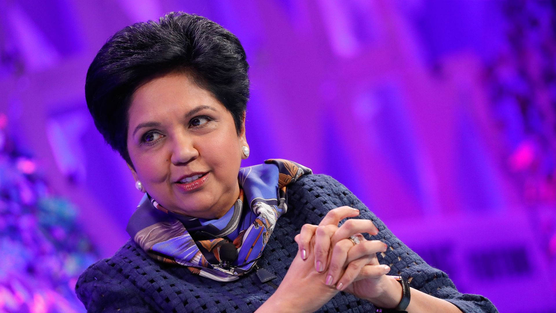 Indra Nooyi speaks on a stage
