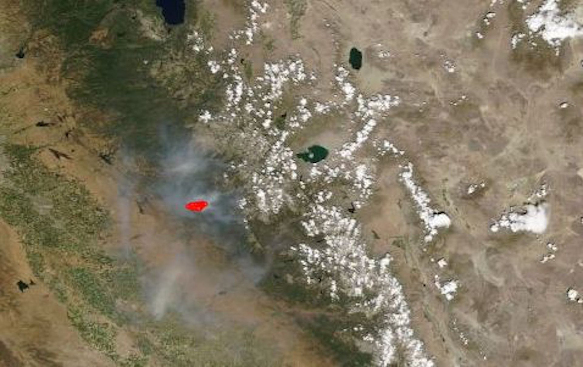 Satellite image showing the Ferguson Fire viewed from a NASA satellite.