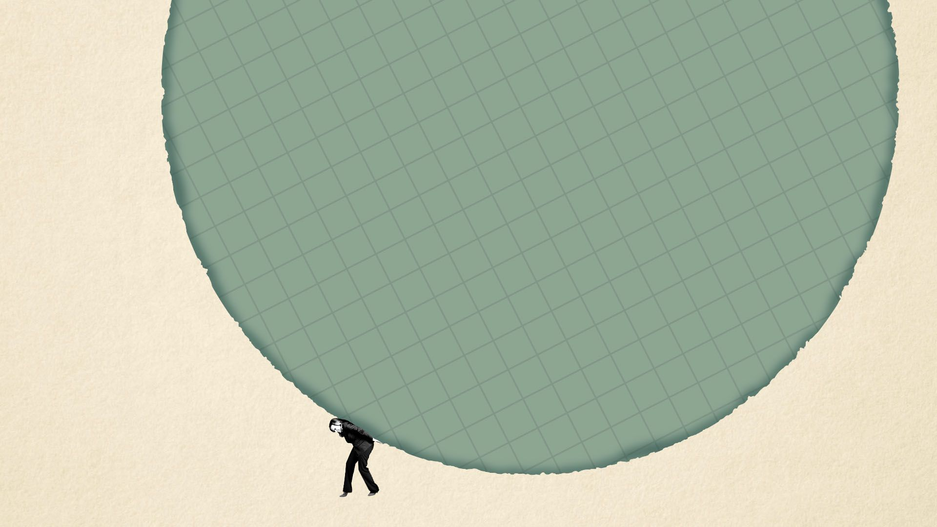 Illustration of a tiny woman holding up a giant circle