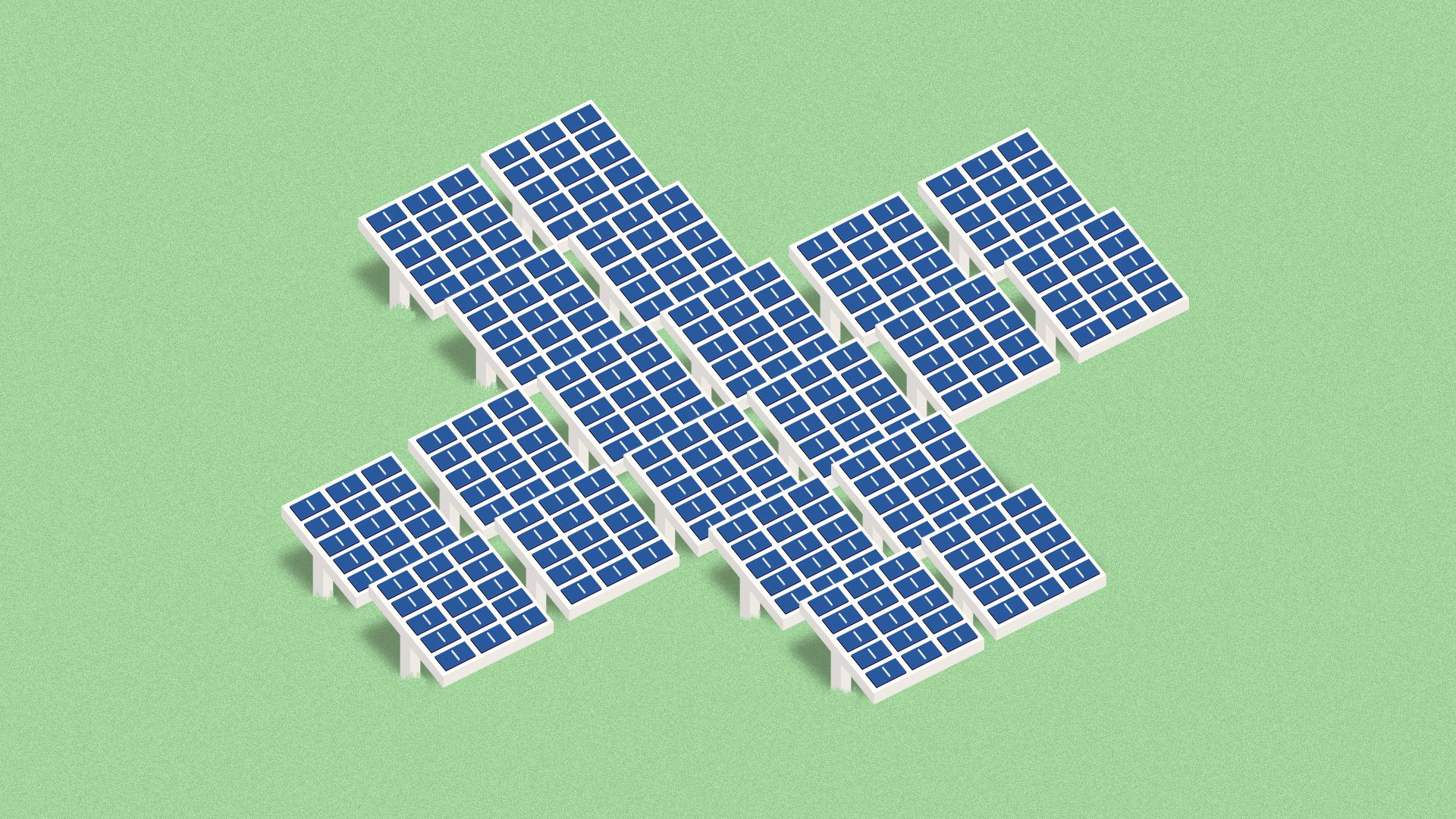 Illustration of a field of solar panels in the shape of a health cross.