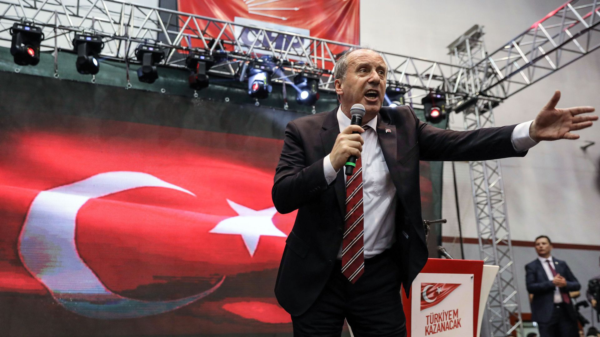 Muharrem Ince addresses Turkey's main opposition Republican People's Party meeting on May 4, 2018 , in Ankara after being named as its candidate to challenge Erdogan.