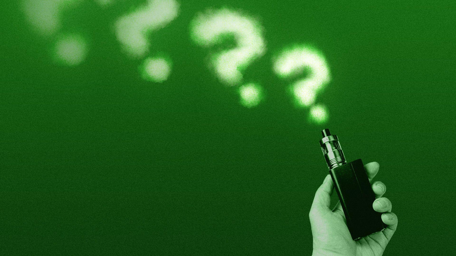 Illustration of a vape pen emitting question mark vapors