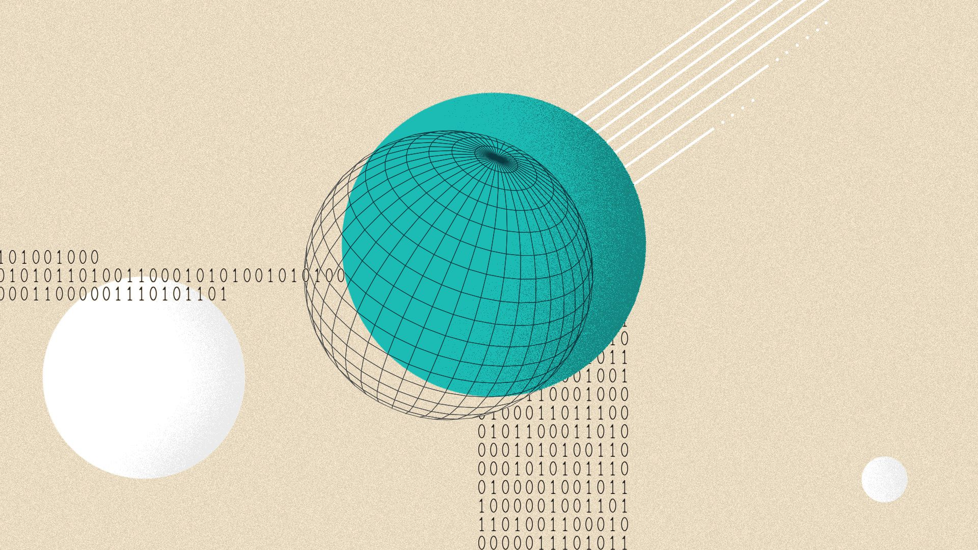 Illustrated collage of circular shapes, spheres and binary code.