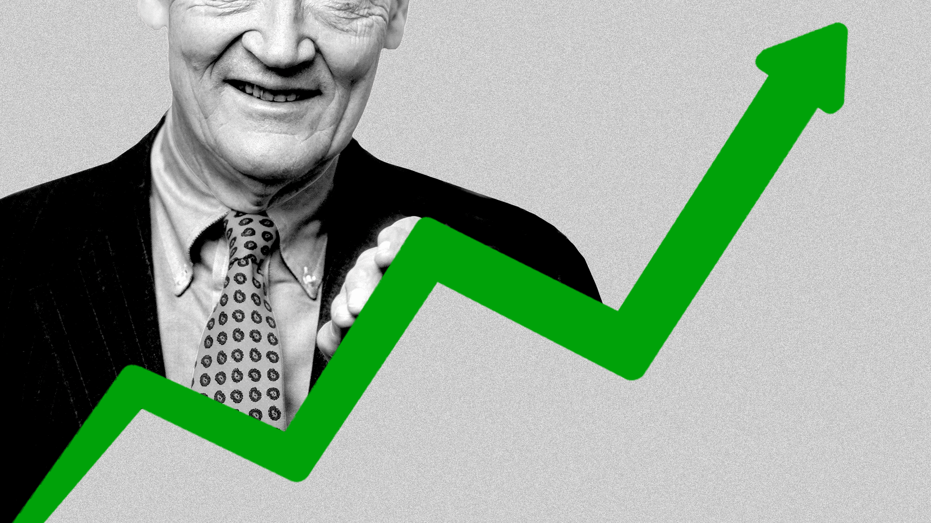 Illustration of Jack Bogle and an upward trending market line.