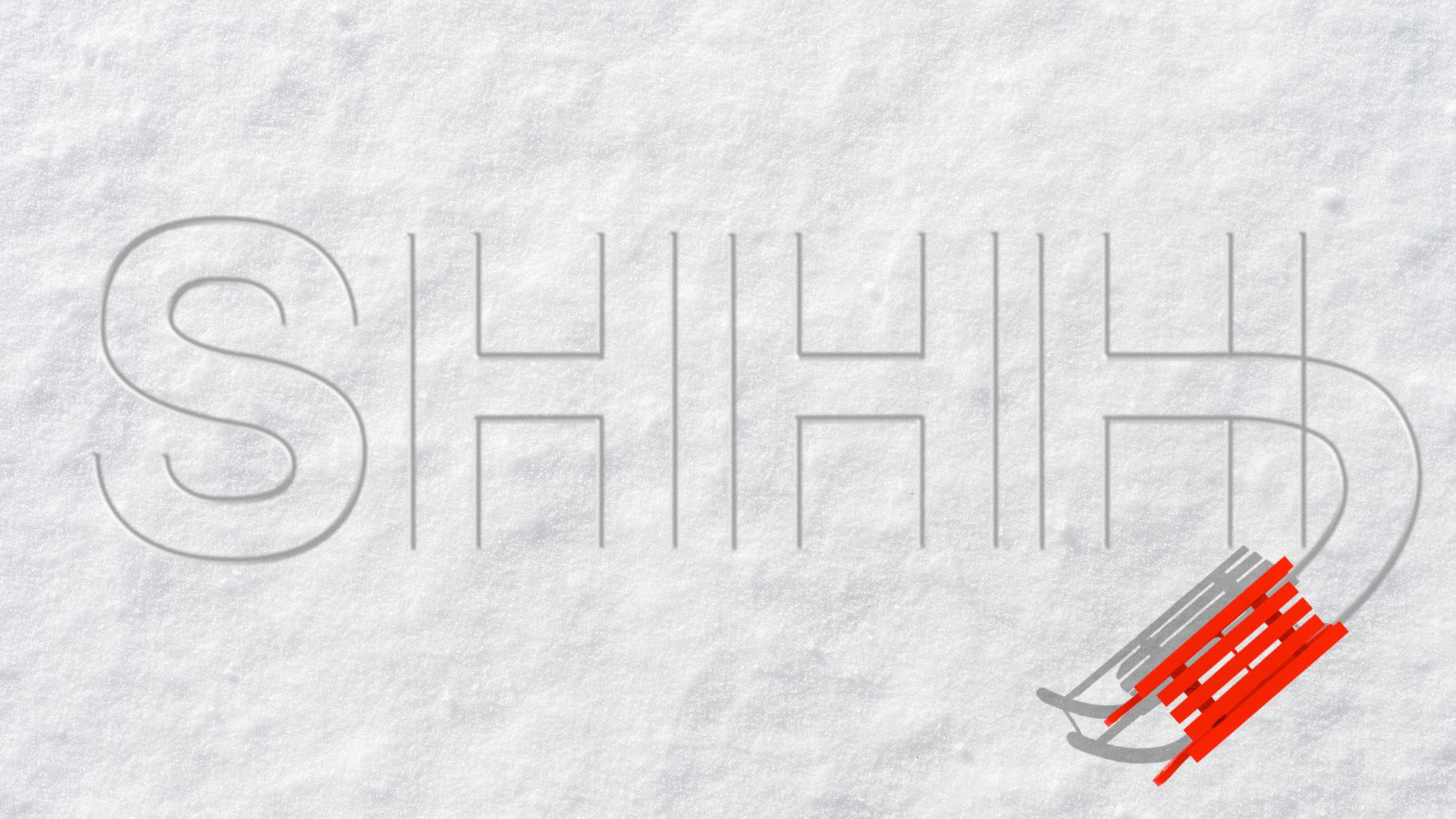 """Illustration of a sled spelling out """"SHHH""""."""