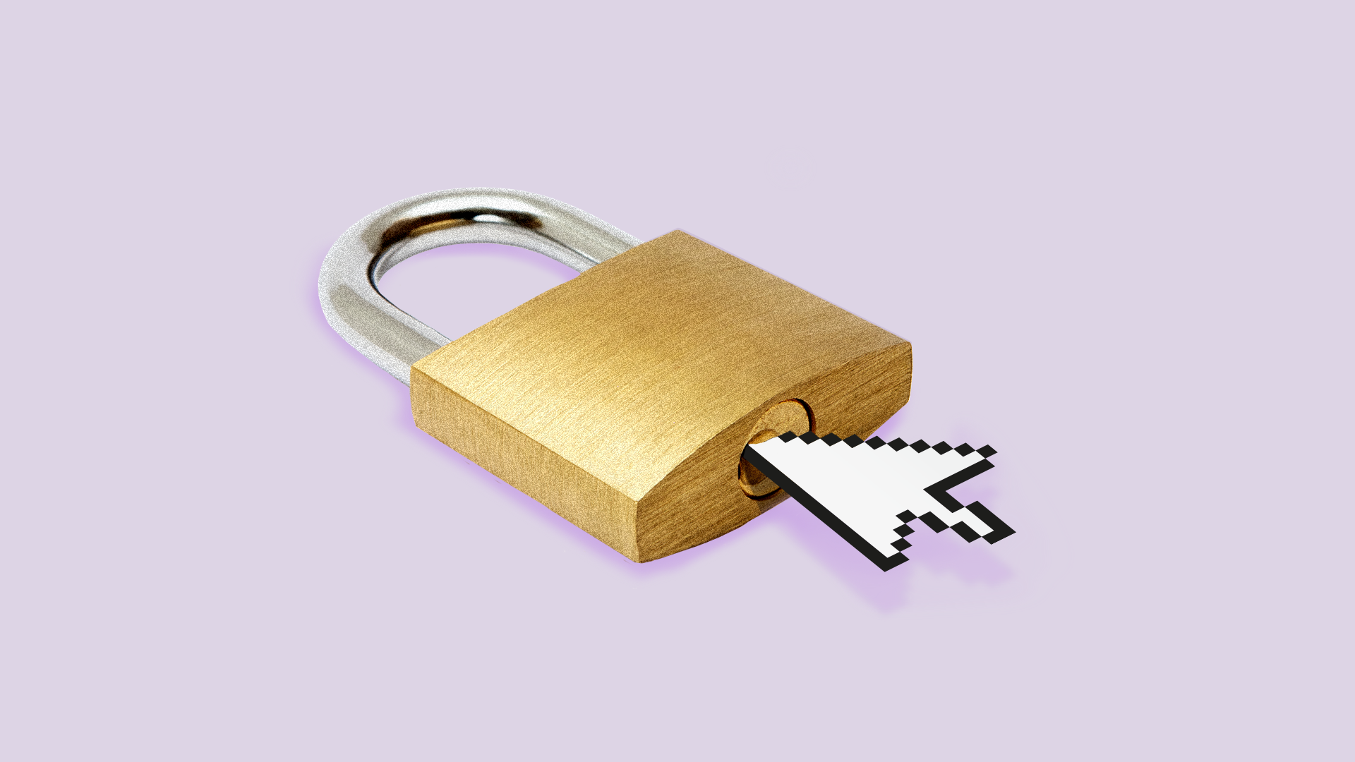 Illustration of a mouse cursor unlocking a padlock