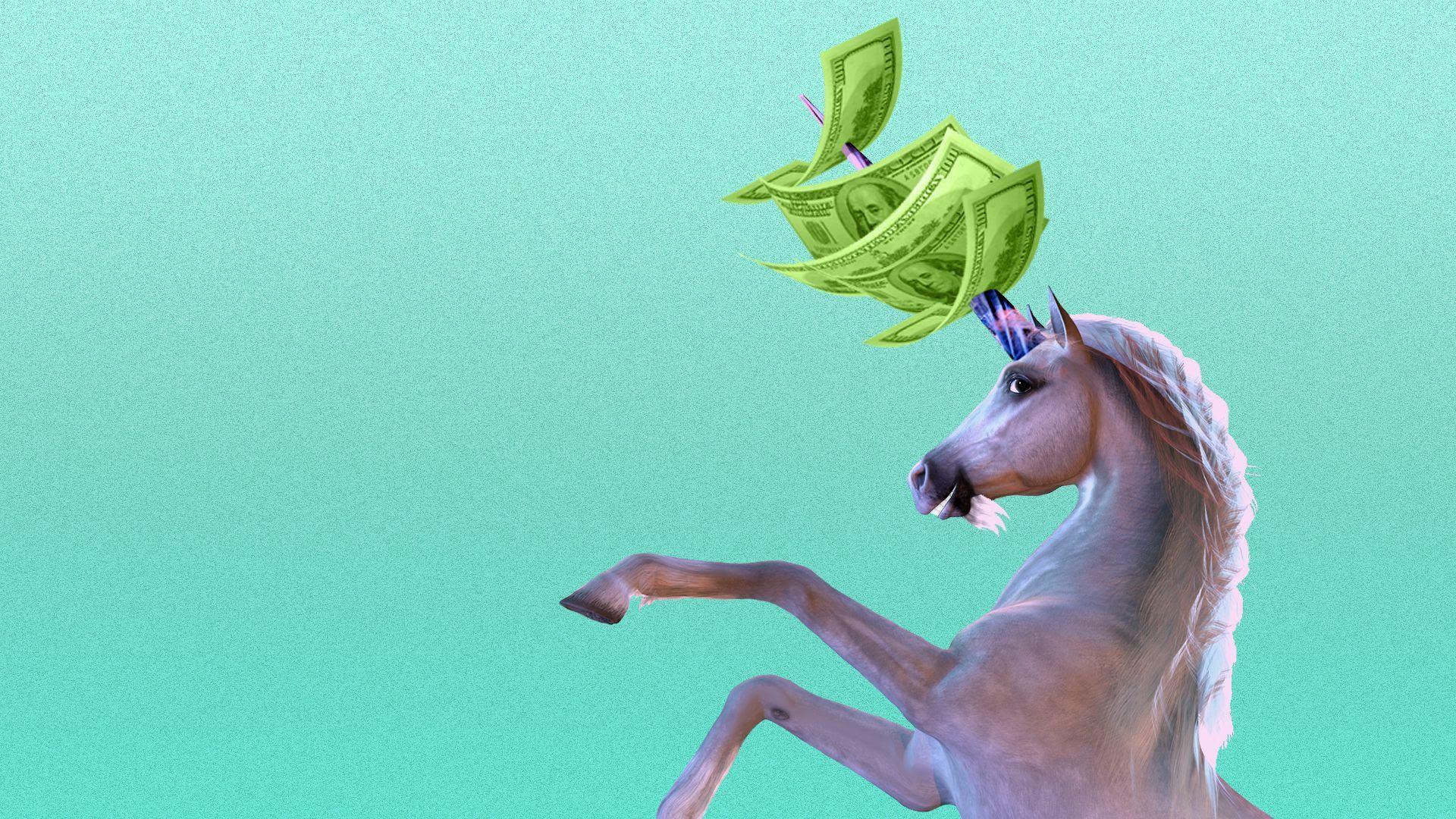 Illustration of smiling unicorn with hundred dollar bills on horn.