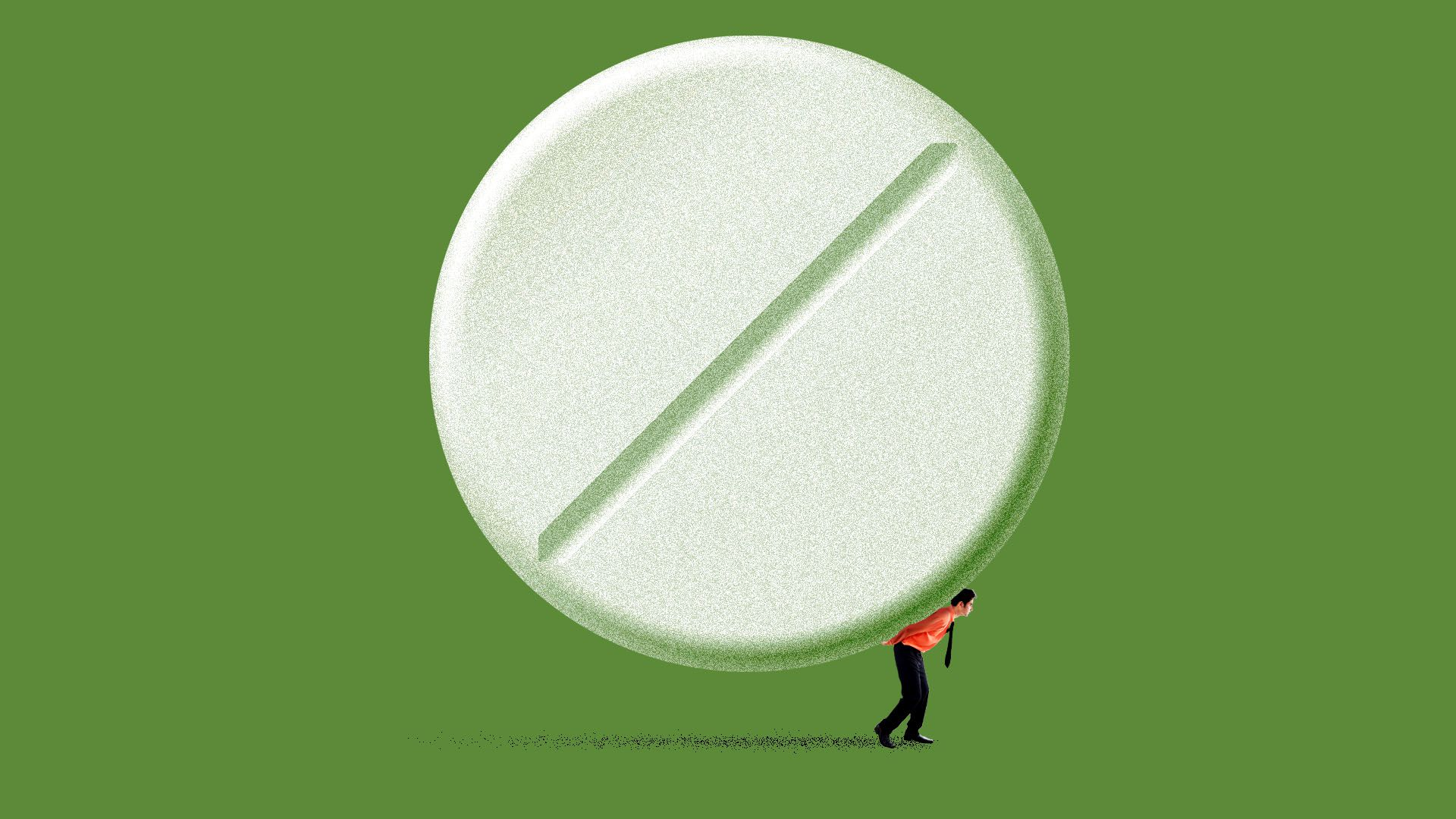 Illustration of a small employer carrying a giant pill on his back