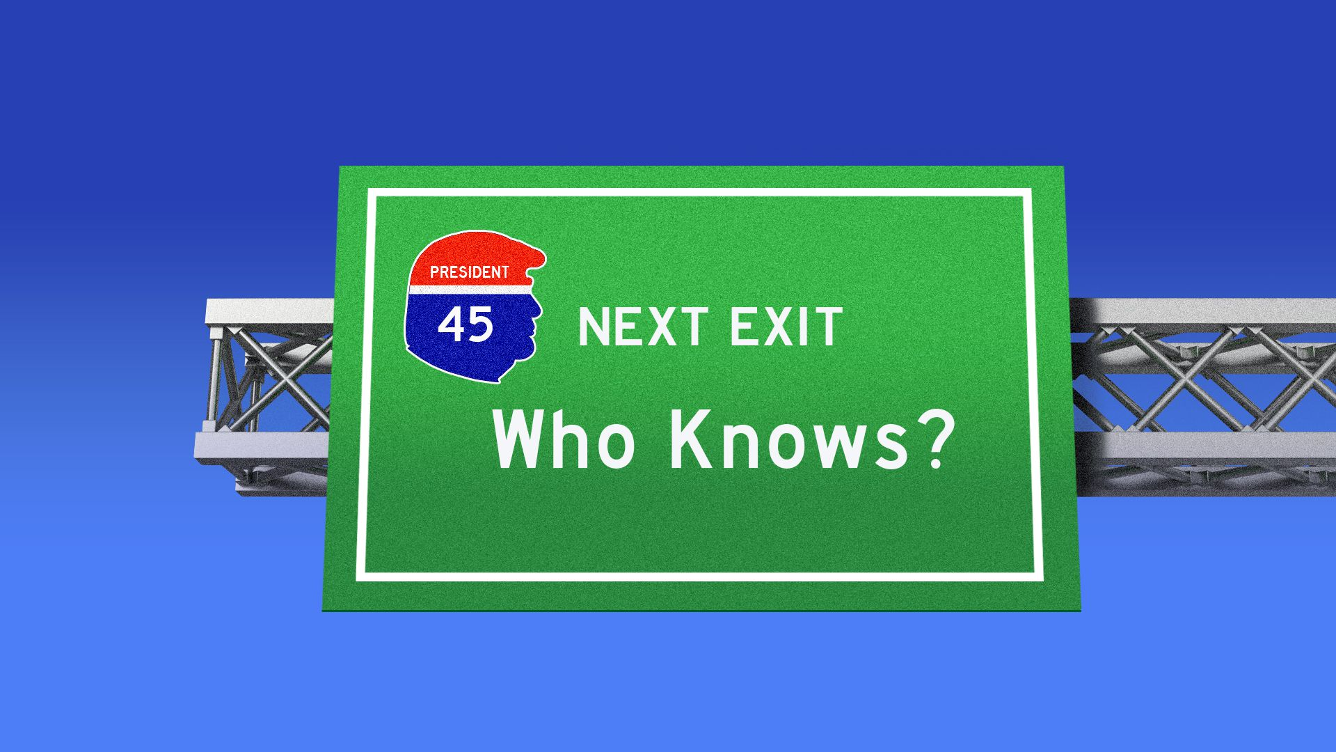 "A road sign saying, ""Next exit: Who knows?"""