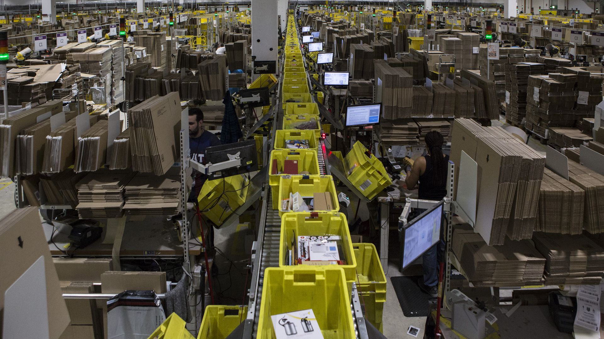 Aerial view of Amazon fulfillment center