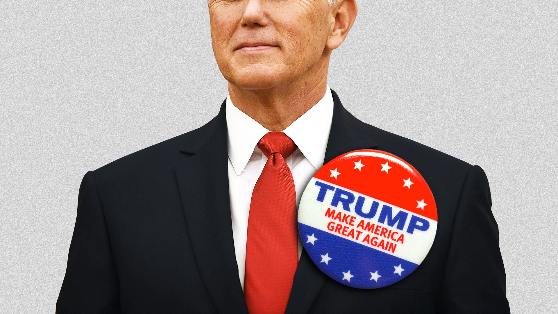 Illustration of Mike Pence with a larger very oversized Trump button on his lapel.
