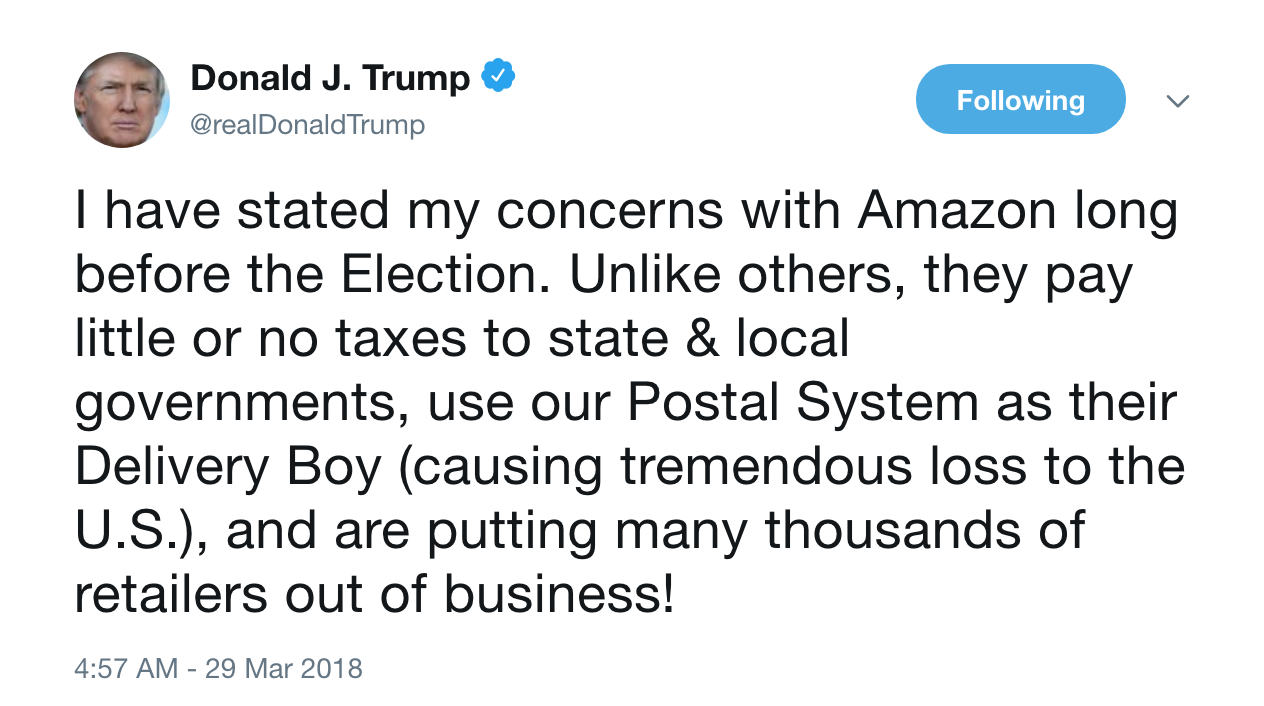Trump's tweet on Amazon