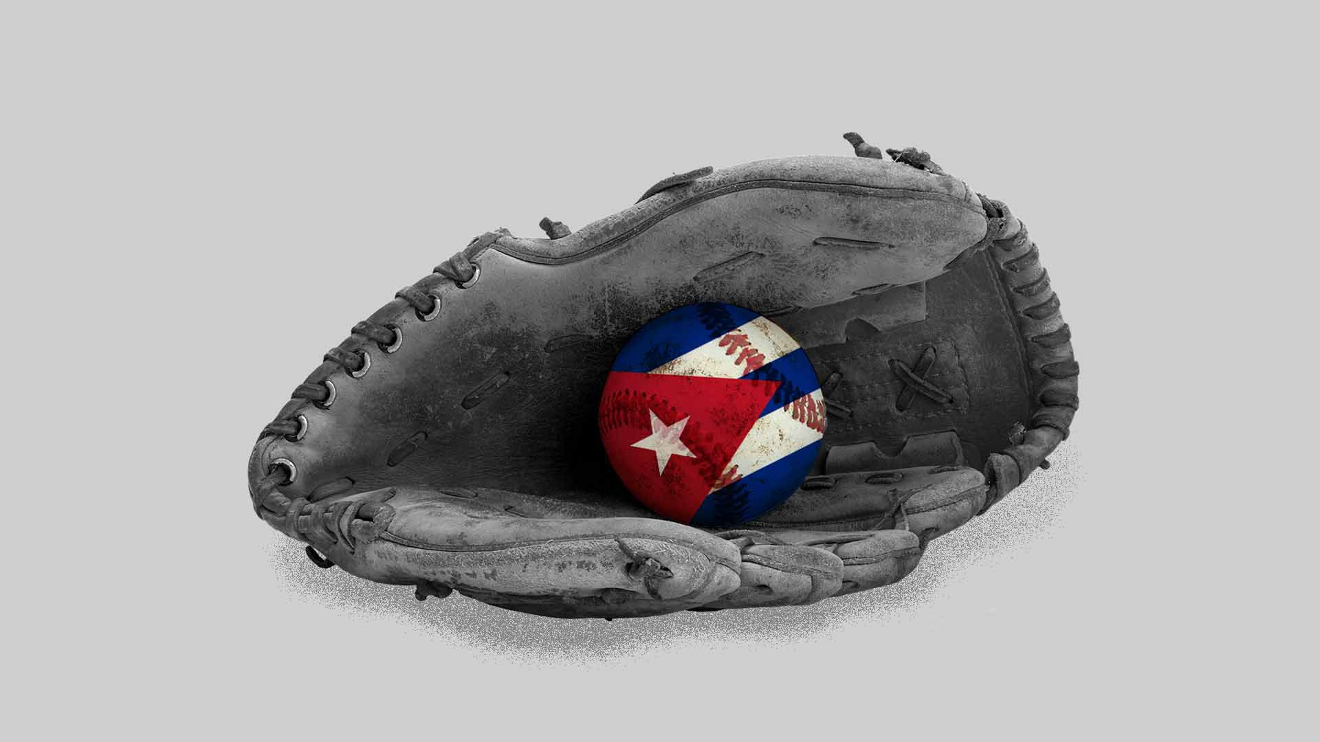 Illustration of a baseball glove on the ground with a Cuban-flag baseball
