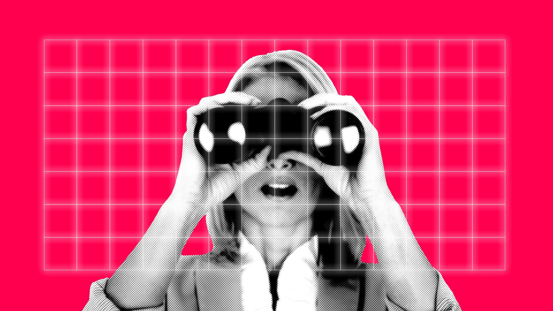 Illustration of a woman looking through binoculars through a grid