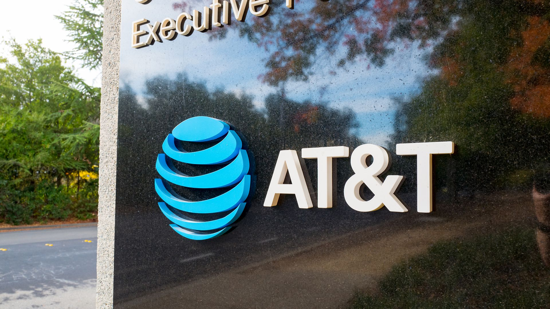 AT&T's logo on a sign