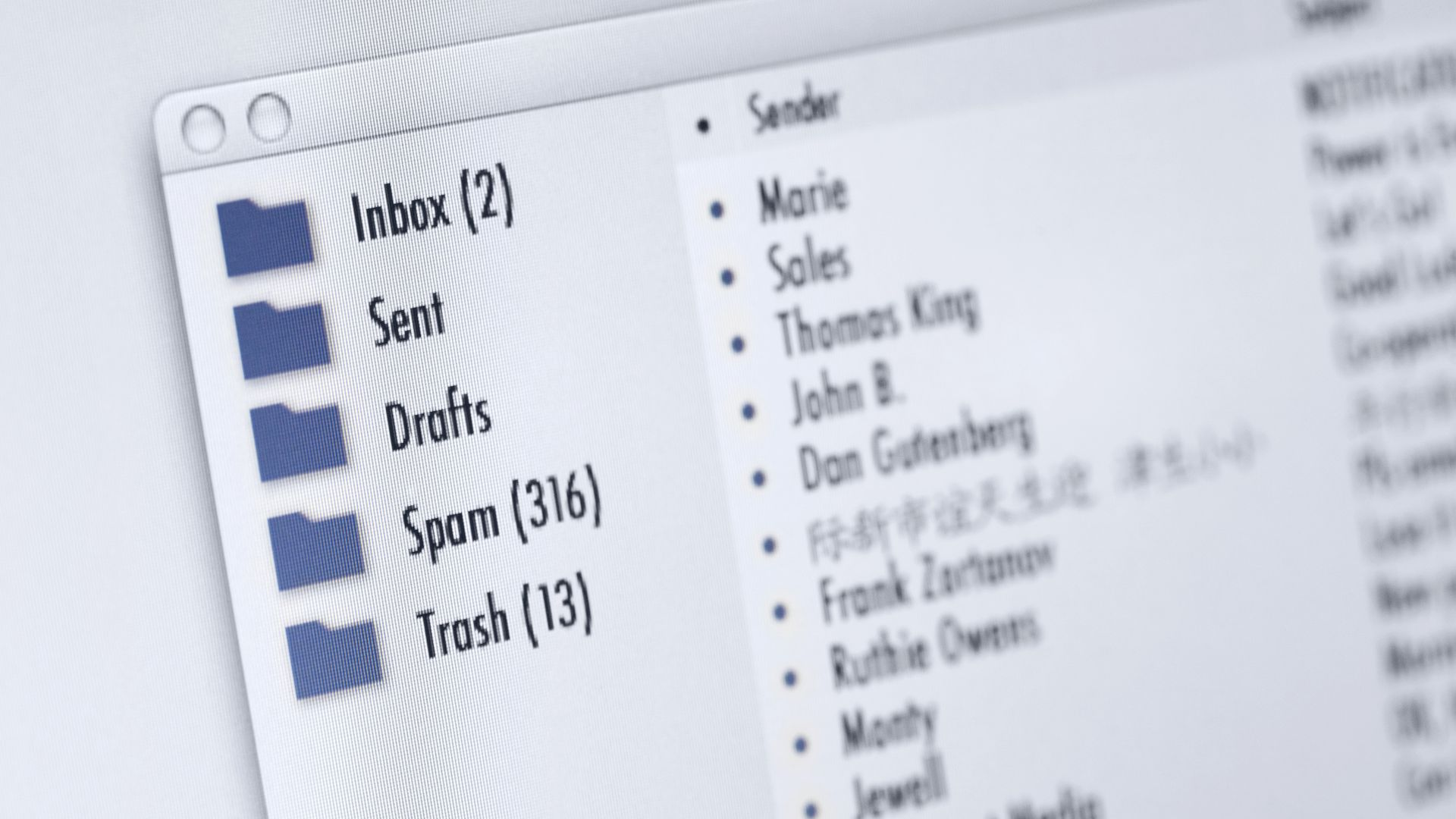 Image of email inbox on a computer screen