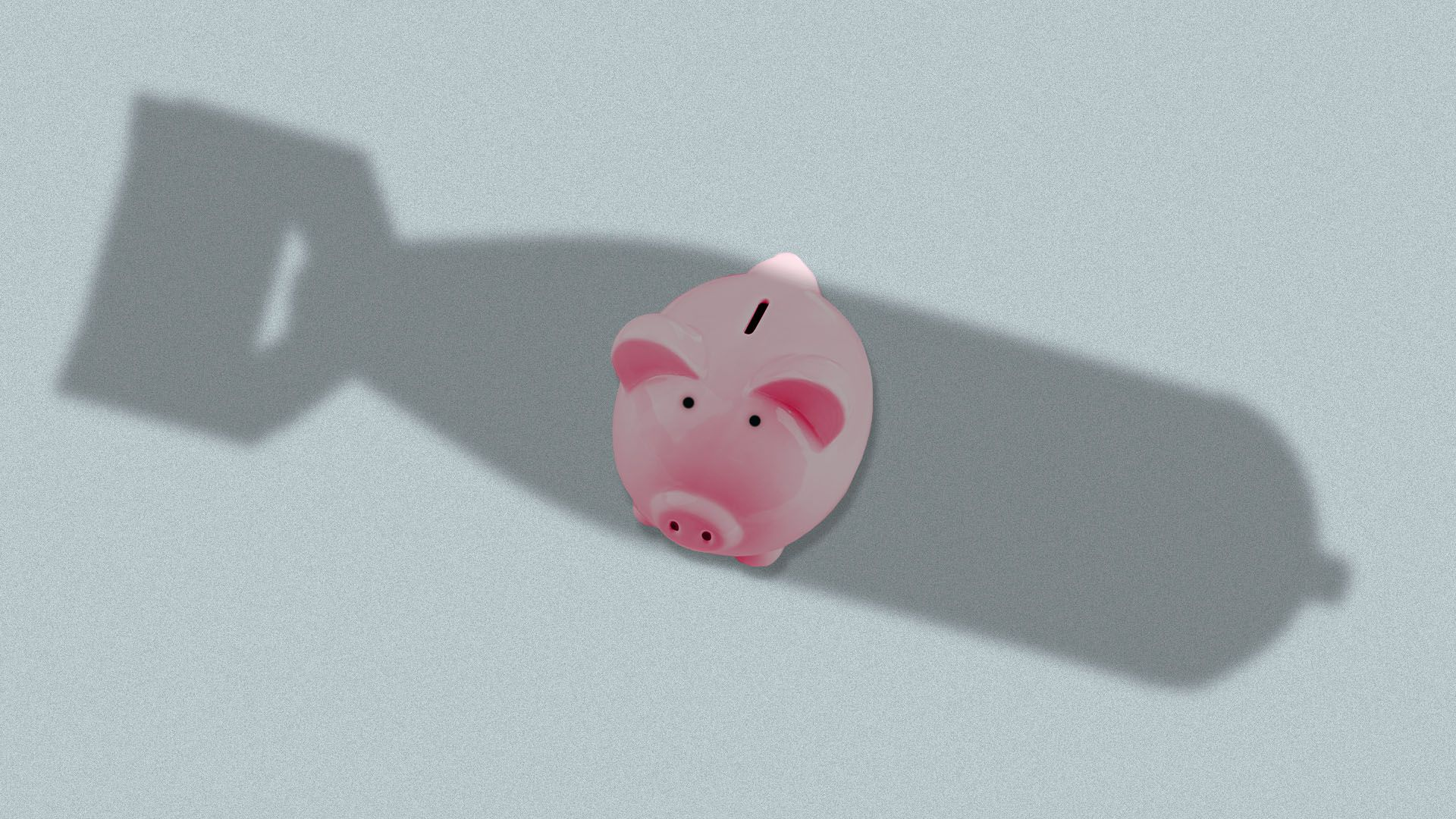 Illustration of piggy bank with shadow of bomb looming over it
