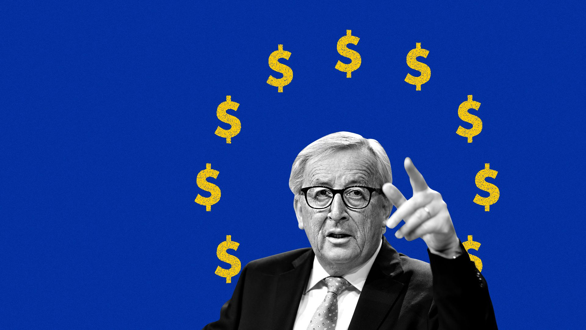 European Commission President Jean-Claude Juncker pictured in front of the E.U. flag with dollars instead of stars.
