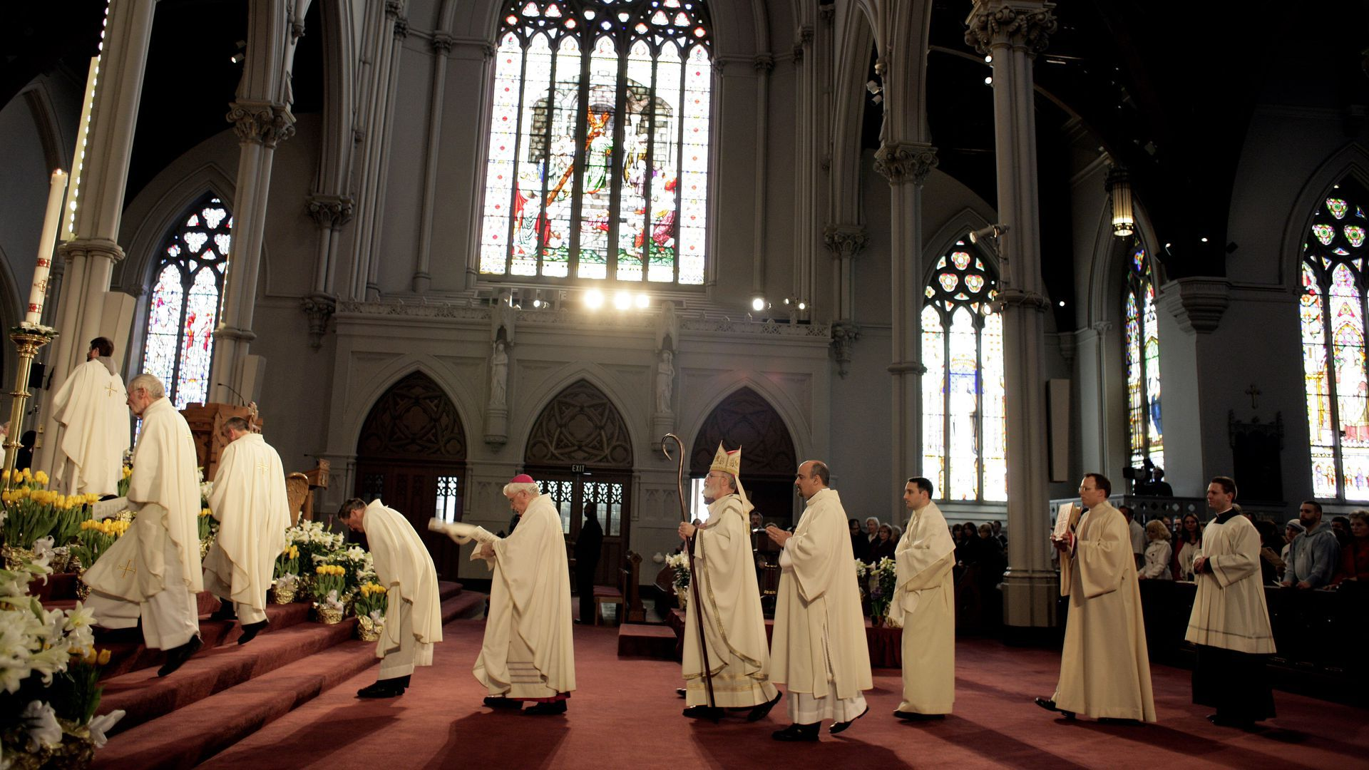 Priests inside a church