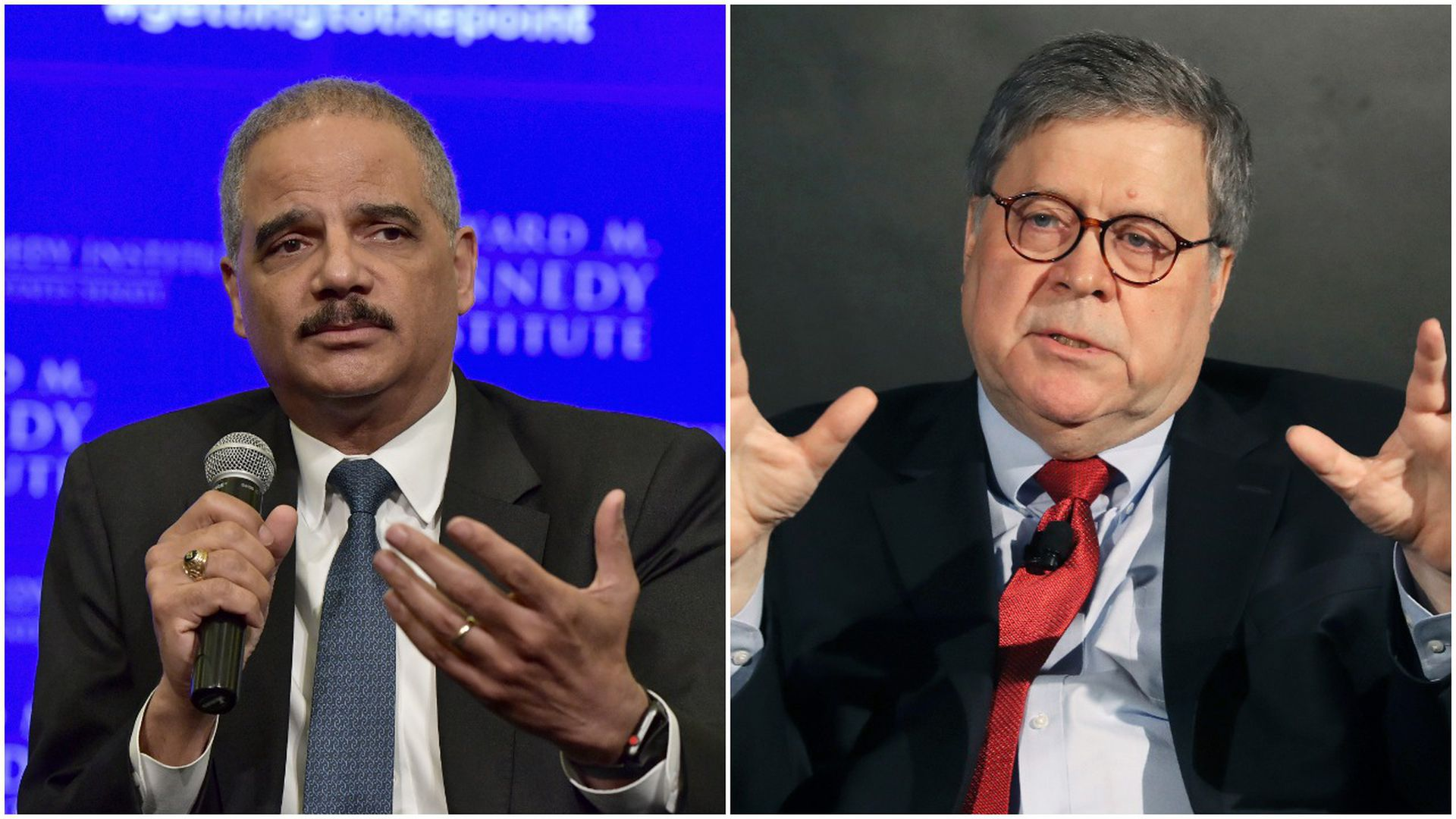 Eric Holder and Bill Barr
