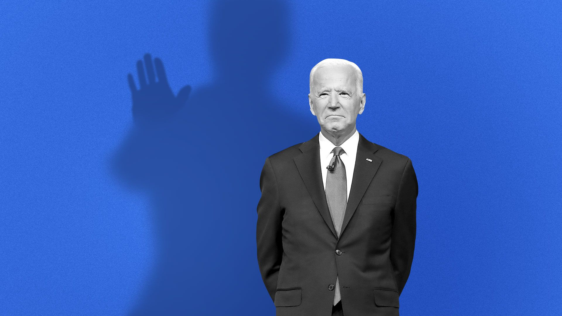 Illustration of Joe Biden with a shadow behind him reaching its hand out