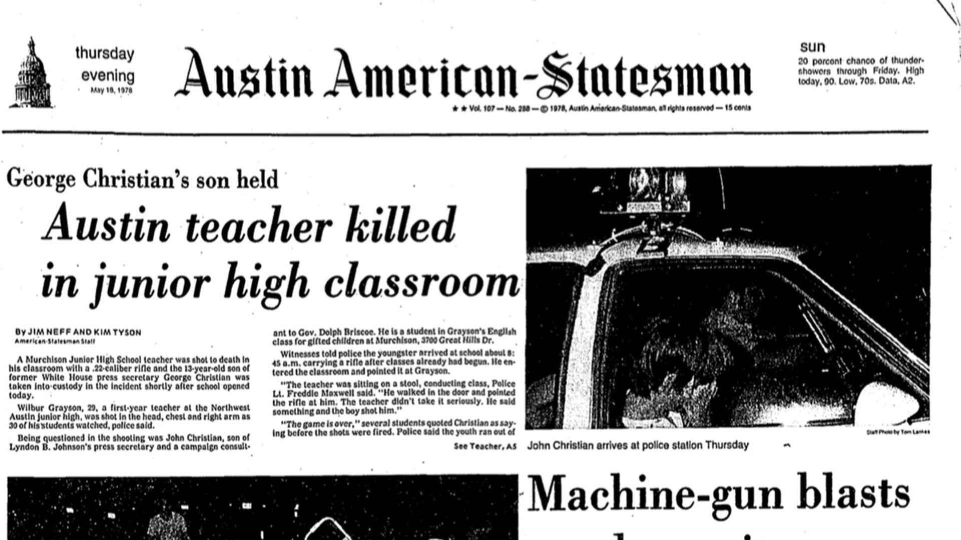 Front page of the Austin American-Statesman from May 18, 1978