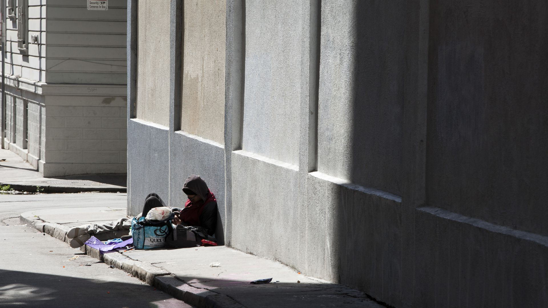 A homeless person on a San Francisco street