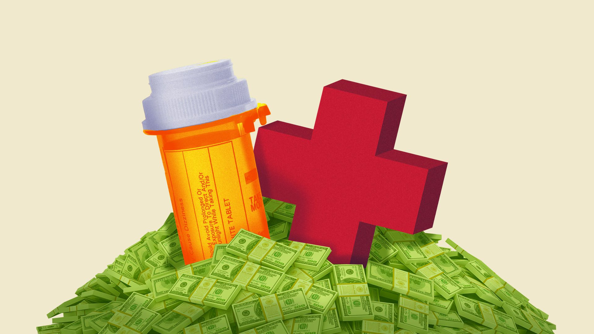 Illustration of a red cross and a pill bottle in a pile of money.
