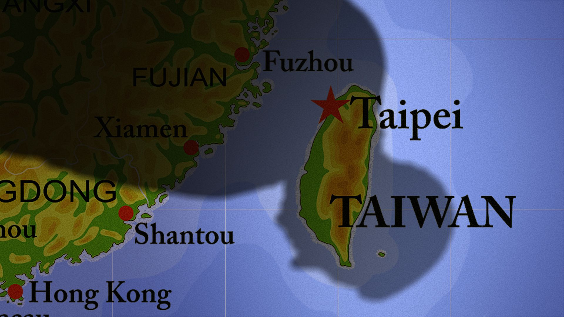 Illustration of a map of the coast of China and Taiwan, with a giant shadow of Xi Jinping looming over it.