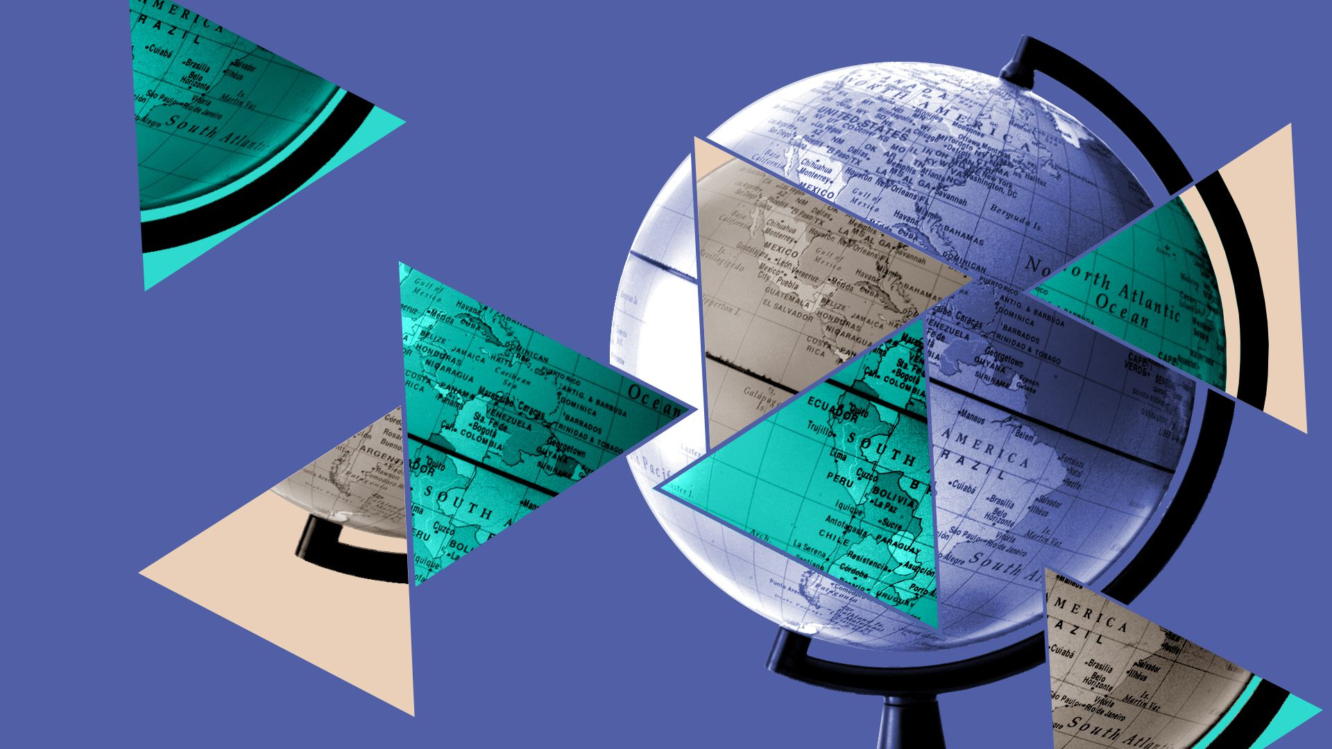 Illustrated collage of globe and triangle pattern