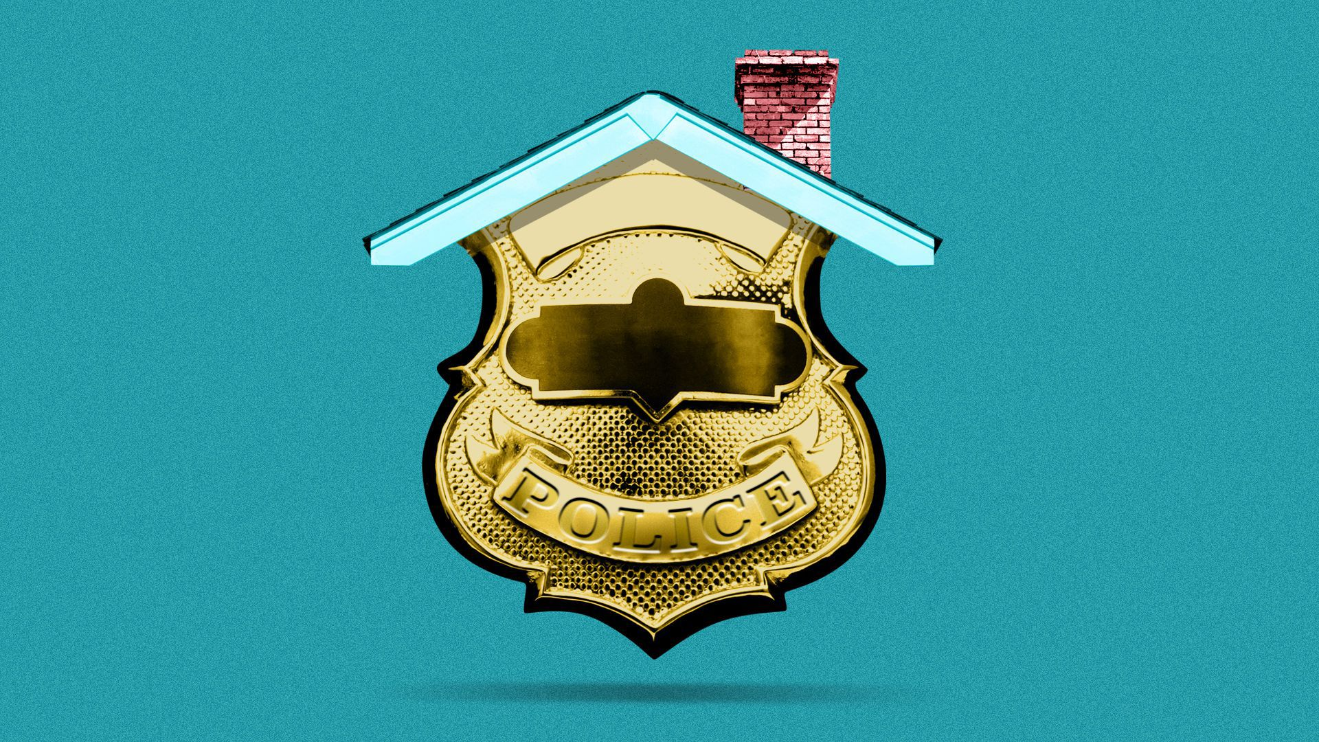 Illustration of a police badge with a roof and chimney on top of it.