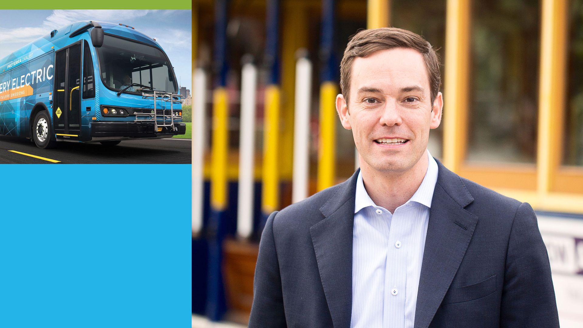 Illustration with photo of Proterra president and a bus