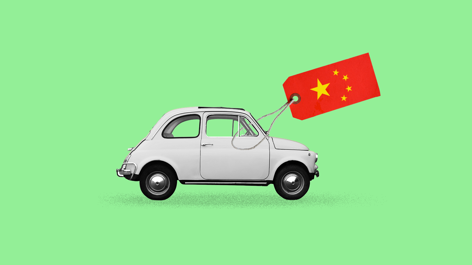 Illustration of a car with a price tag made of the Chinese flag
