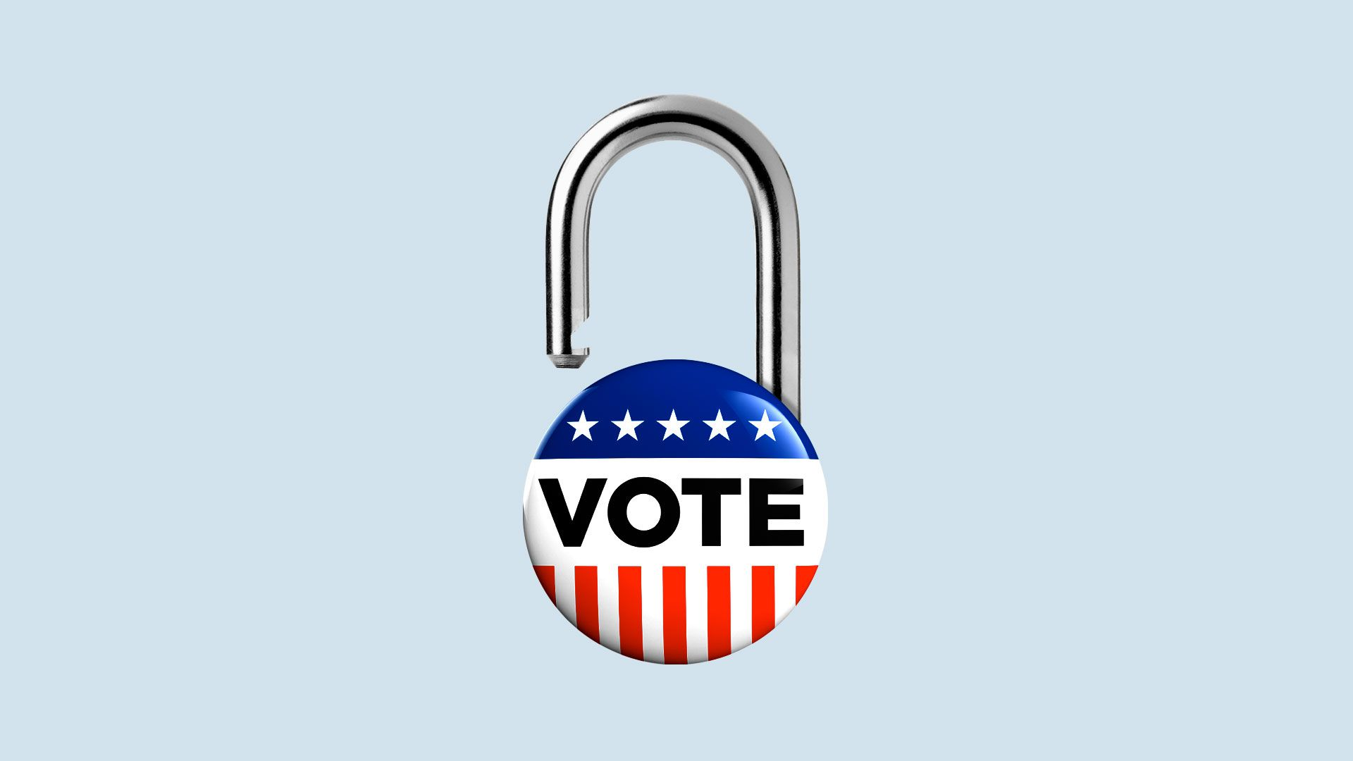 Illustration of a campaign vote button with an opened padlock shackle on the top.