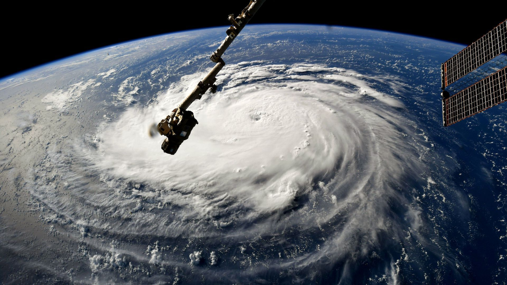 Hurricane seen from space moving west coast U.S.