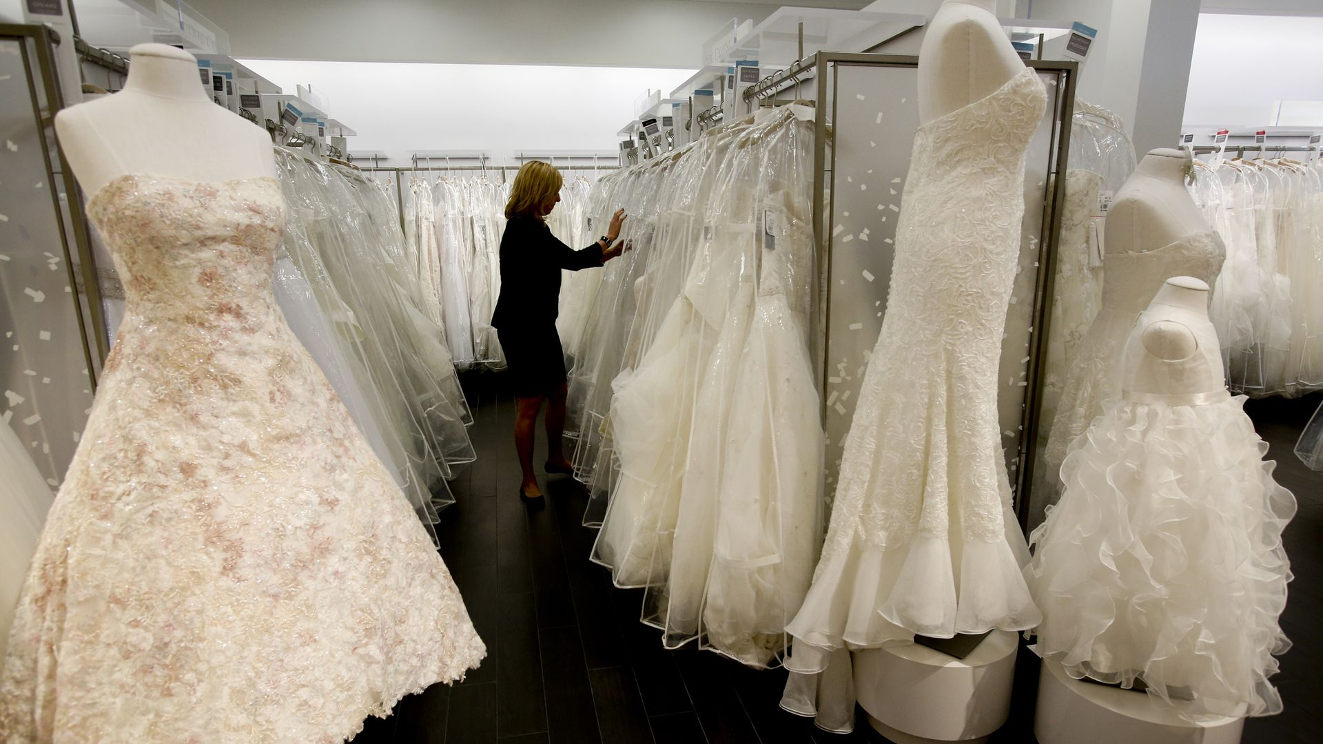 A photo of wedding dresses at David's Bridal in Los Angeles on West Pico Boulevard in Los Angeles