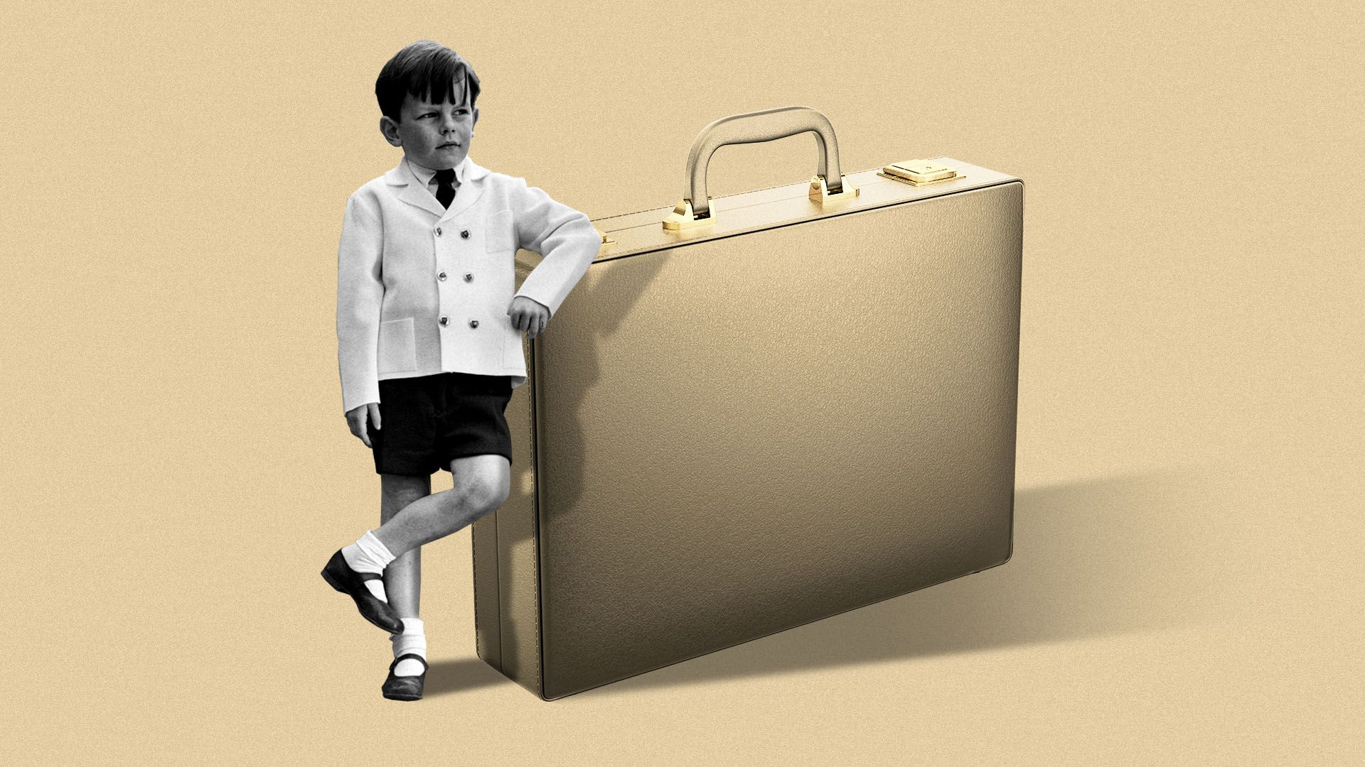 Illustration of an archival image of a boy in fancy clothes leaning up against a giant suitcase