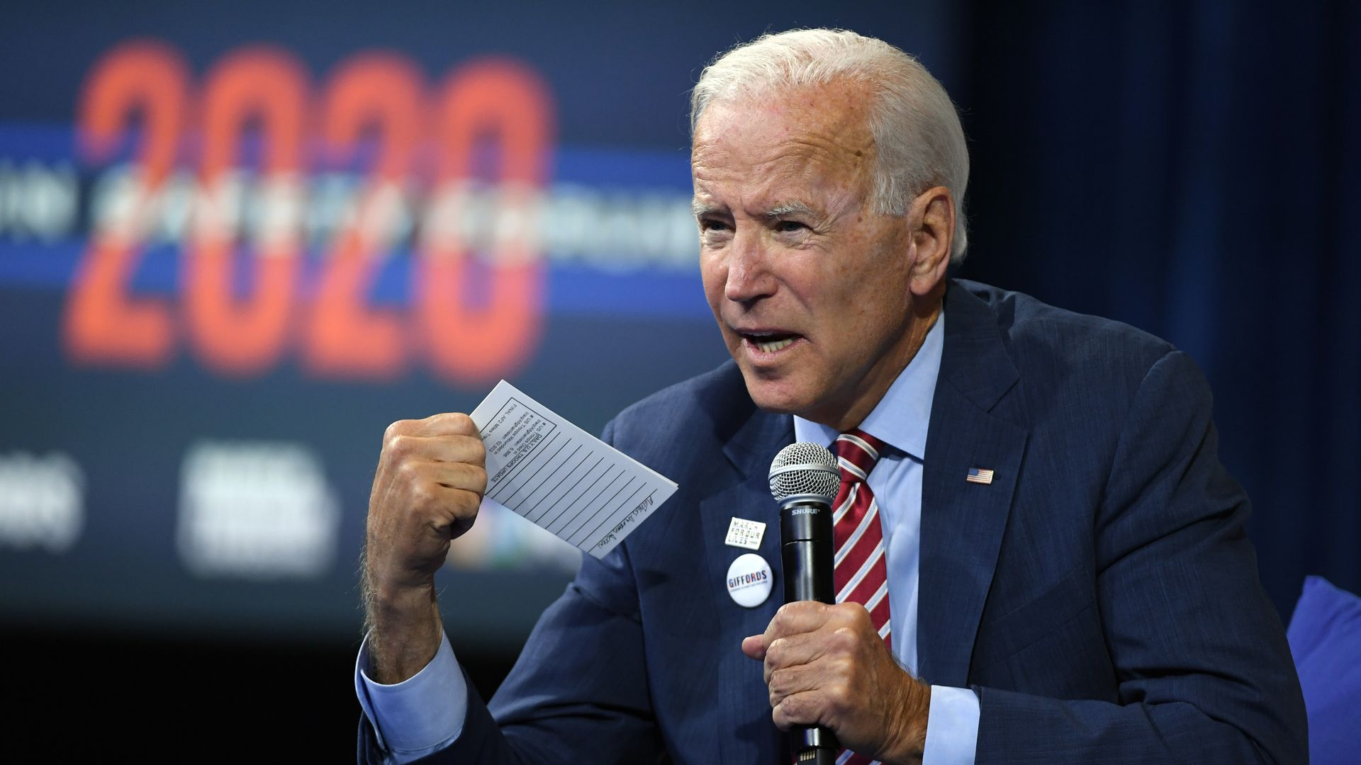 Democratic presidential candidate Joe Biden speaks during the 2020 Gun Safety Forum hosted by gun control activist groups Giffords and March for Our Lives at Enclave on October 2