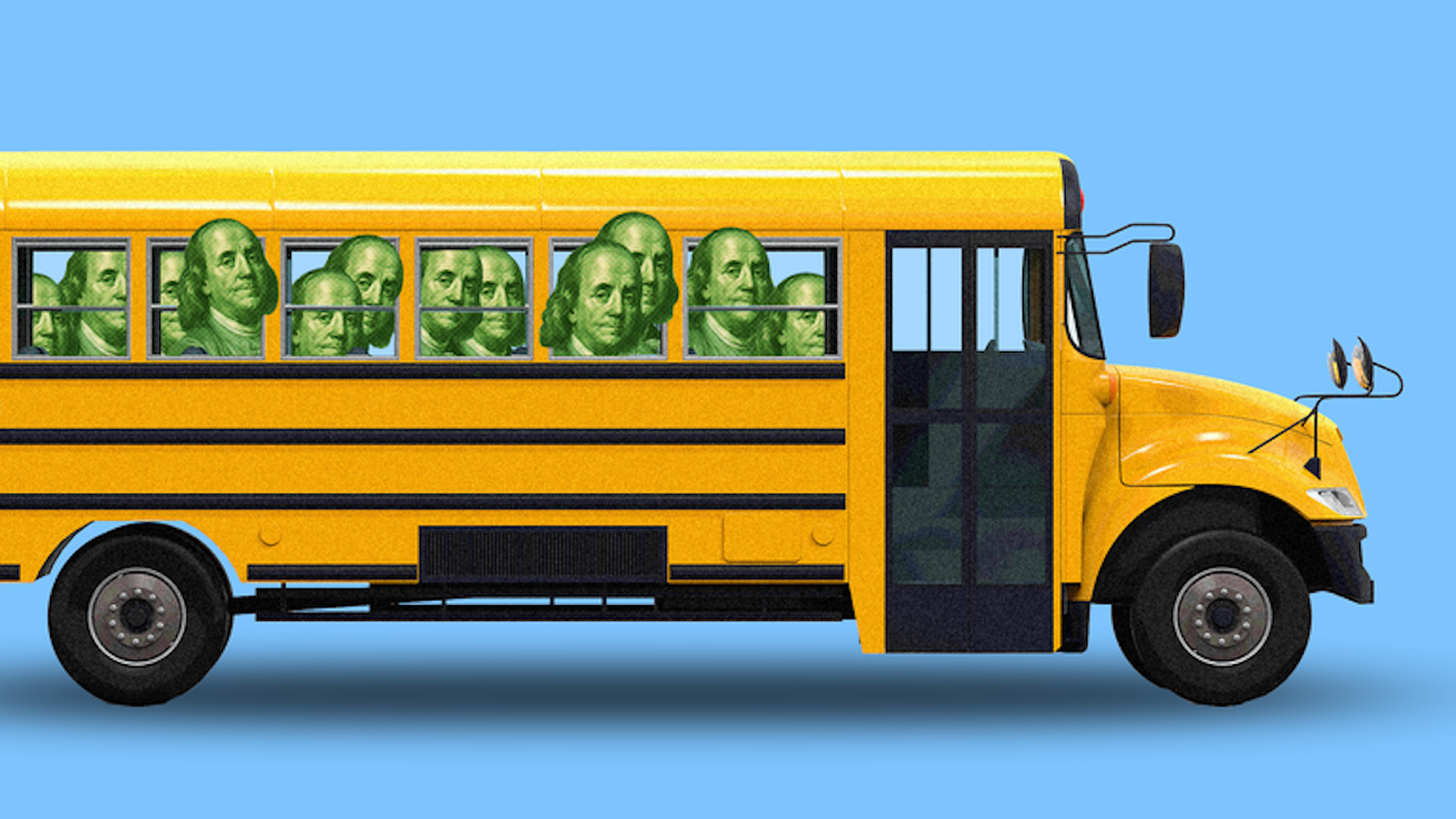 School bus with money