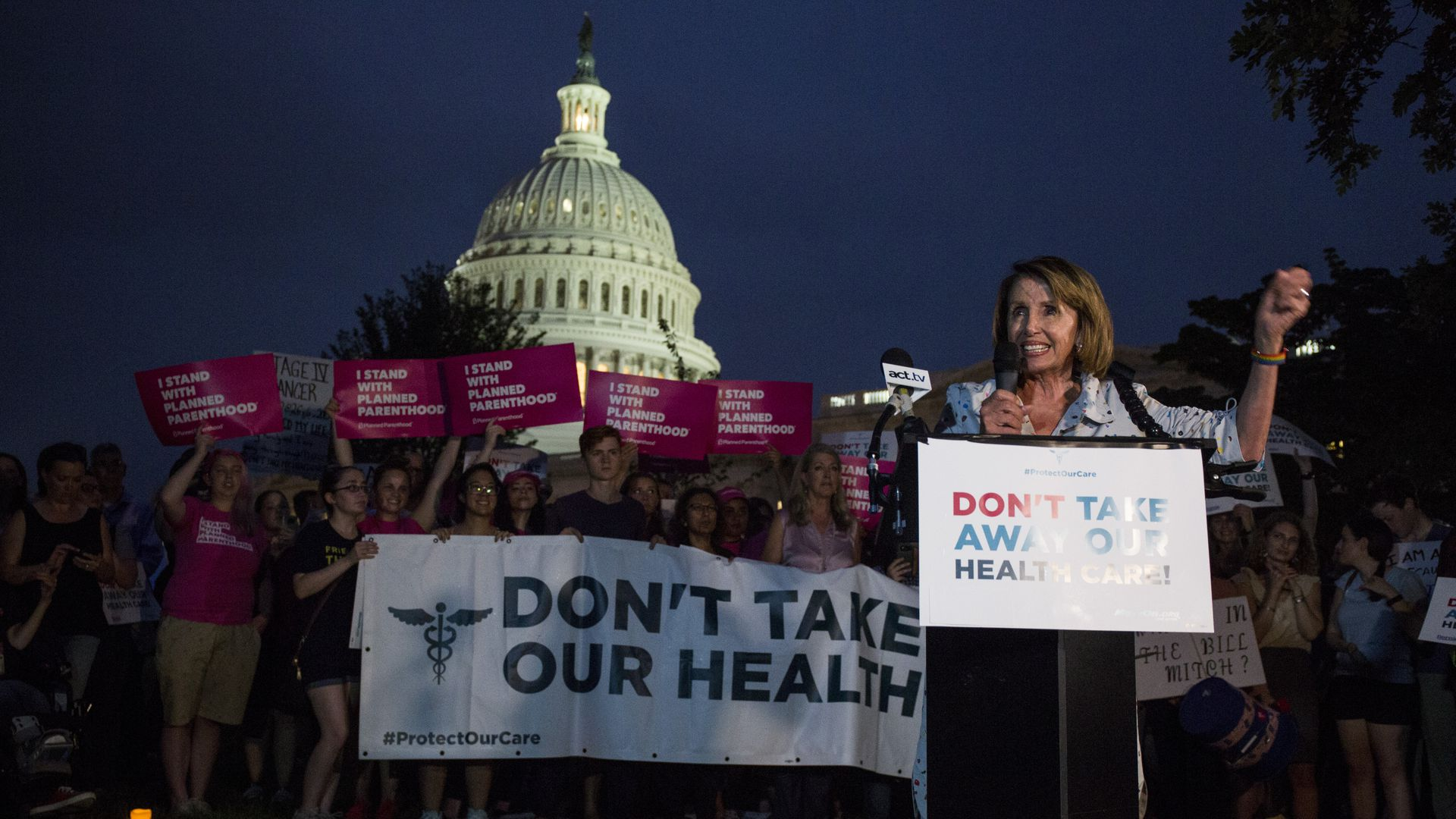 Nancy Pelosi at a health care protest outside Capitol Hill