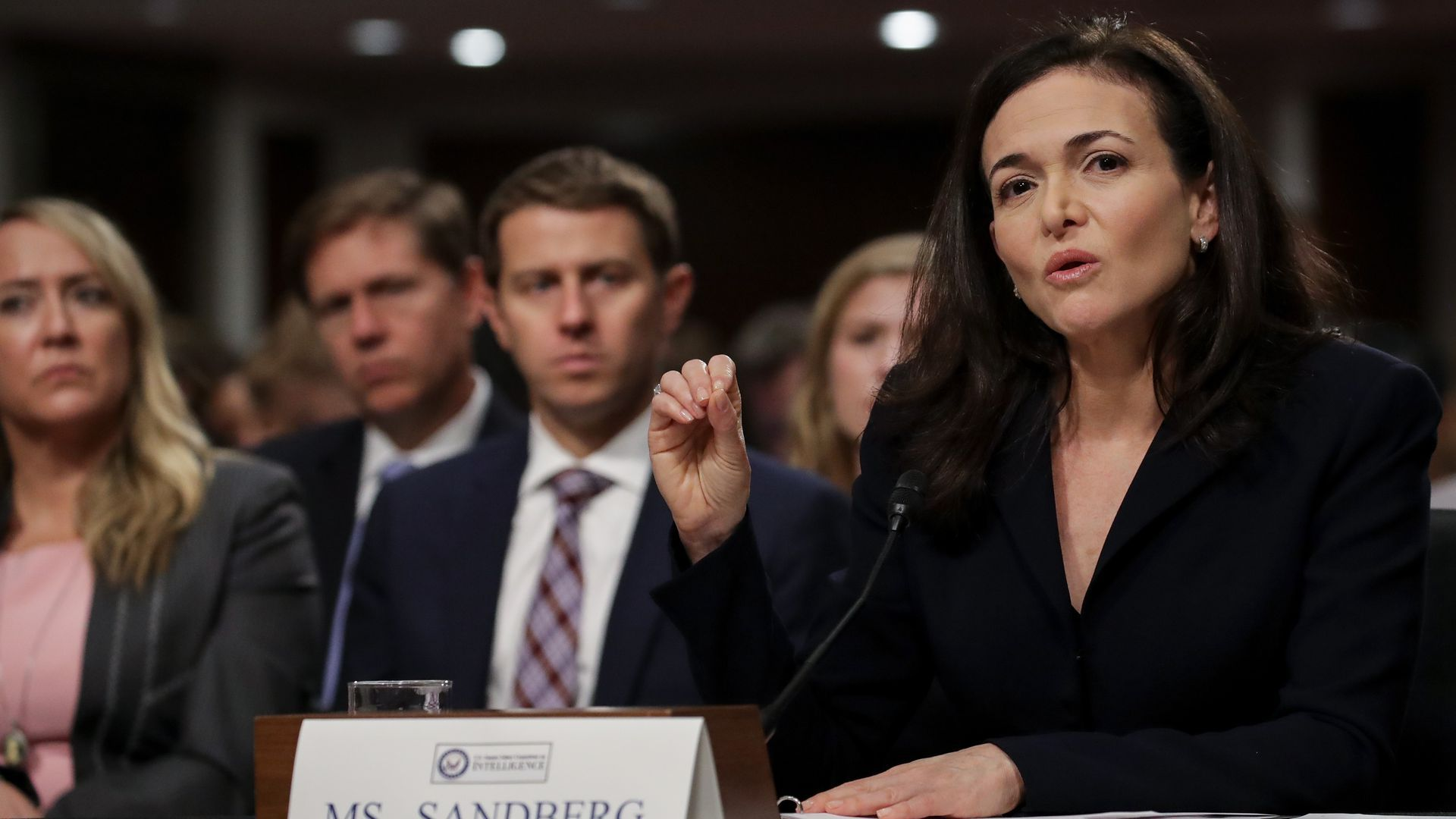 Sheryl Sandberg speaks at a hearing