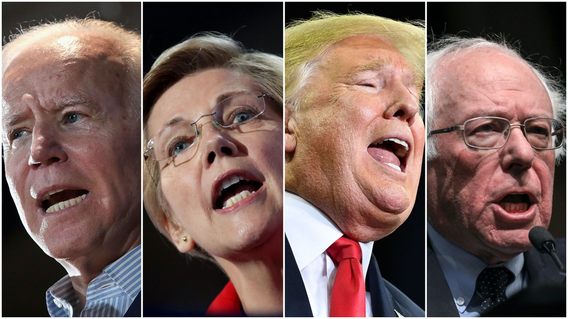 Former Vice President Joe Biden, Sen. Elizabeth Warren, President Donald Trump, Sen. Bernie Sanders.